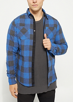 Navy Long Sleeve Plaid Print Button Down Shirt