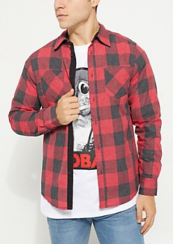 Red Long Sleeve Plaid Button Down Shirt