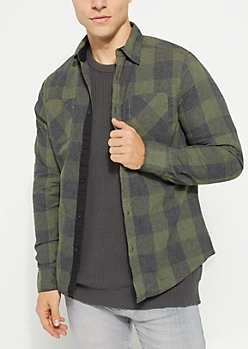 Olive Long Sleeve Plaid Button Down Shirt