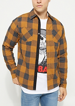 Brown Plaid Print Long Sleeve Button Down Shirt