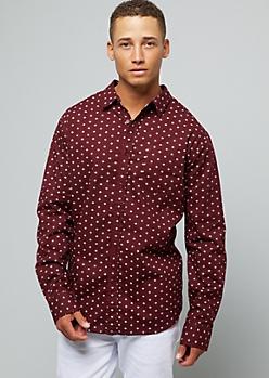 Burgundy Geometric Print Button Down Shirt