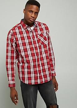 Red Plaid Print Button Down Chest Pocket Shirt