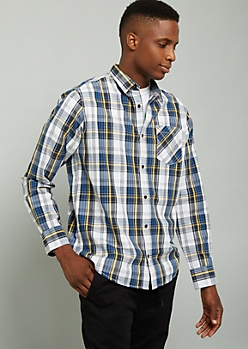 Blue Plaid Print Button Down Chest Pocket Shirt