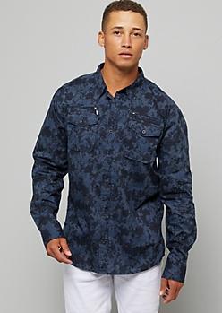 Navy Camo Print Zippered Button Down Shirt