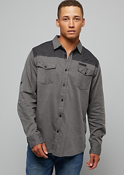 Charcoal Gray Western Button Down Shirt