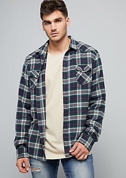 Green Plaid Print Soft Woven Flannel Shirt