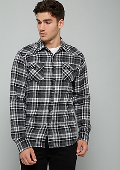 Charcoal Gray Plaid Print Flannel Button Down Shirt