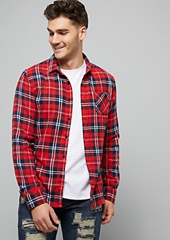 Red Plaid Print Soft Woven Flannel Shirt