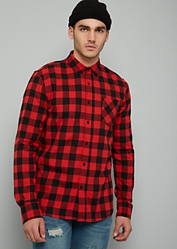 Red Plaid Print Flannel Pocket Button Down Shirt