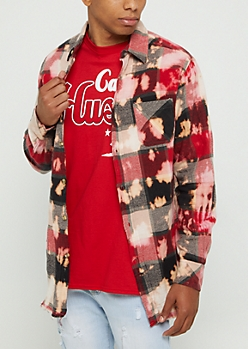 Red Plaid Bleached Frayed Shirt