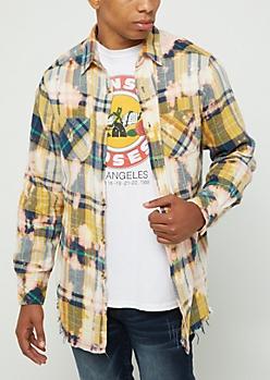 Mustard Bleached Plaid Print Frayed Shirt