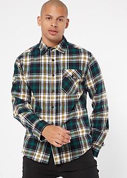 Green Button Down Plaid Print Flannel Shirt