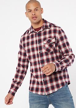Navy Red Button Down Plaid Print Flannel Shirt
