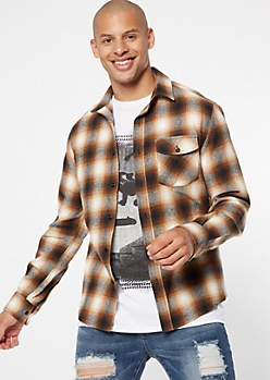 Mustard Button Down Plaid Print Flannel Shirt