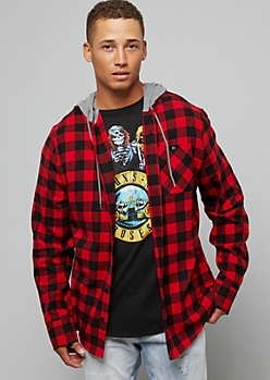Red Plaid Pattern Button Down Hooded Shirt