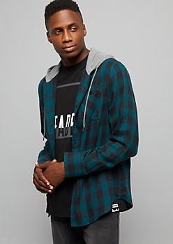Teal Plaid Pattern Button Down Hooded Shirt