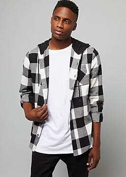 White Plaid Print Button Down Hooded Shirt