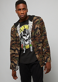 Camo Print Button Down Hooded Shirt