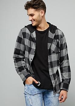 Gray Plaid Print Button Down Hooded Shirt
