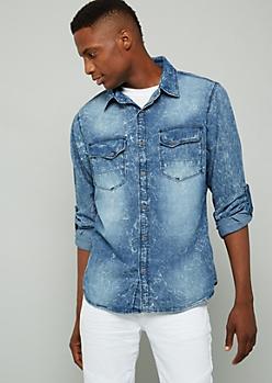 Light Acid Wash Slim Fit Denim Shirt