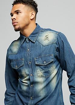 Dark Wash Distressed Slim Fit Denim Shirt