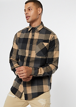 Brown Plaid Print Flannel Shirt