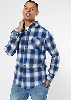 Navy Plaid Print Flannel Shirt