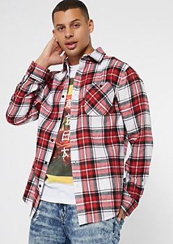 Red Plaid Print Flannel Shirt