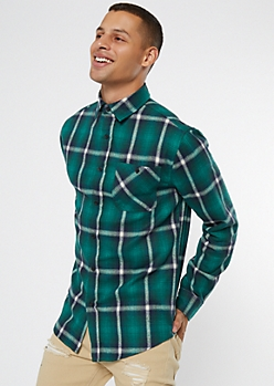 Green Plaid Print Flannel Shirt