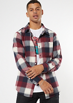 Navy Buffalo Plaid Flannel Shirt