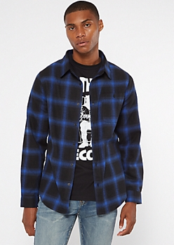 Black Woven Plaid Flannel Shirt