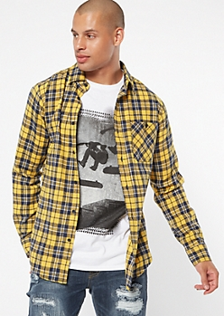 Yellow Plaid Print Flannel Shirt