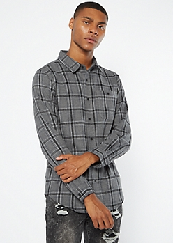 Charcoal Plaid Flannel Shirt