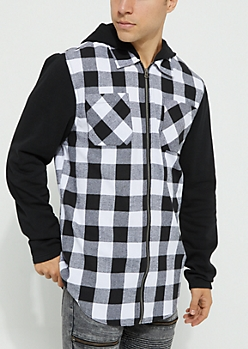 White Woven Zip Flannel Hoodie