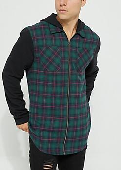 Green Zip Flannel Hoodie