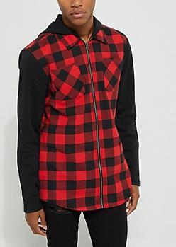 Red Zip Flannel Hoodie