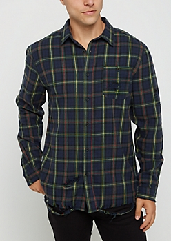 Navy & Green Destroyed Button Down Shirt