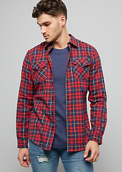 Red Plaid Print Chest Pocket Flannel Shirt