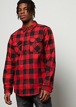 Red Plaid Print Savage Flannel Graphic Button Down Shirt