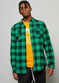 Green Plaid Print Hype Flannel Graphic Button Down Shirt