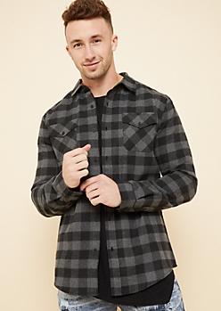 Gray Plaid Print Flannel Button Down Shirt