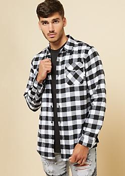 White Plaid Print Flannel Button Down Shirt