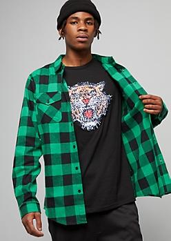 Green Plaid Print Flannel Button Down Shirt