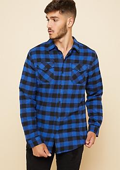 Blue Plaid Print Flannel Button Down Shirt