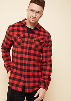 Red Plaid Print Flannel Button Down Shirt
