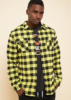 Yellow Plaid Flannel Button Down Shirt