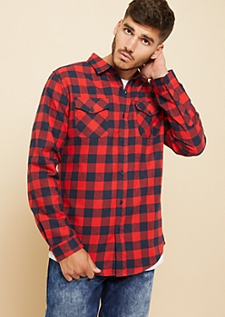 Red and Navy Plaid Print Flannel Button Down Shirt