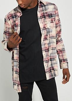 Black Plaid Print Bleached Flannel Shirt