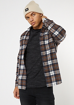 Brown Plaid Print Woven Button Up Shirt