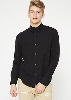 Black Button Down Flannel Shirt